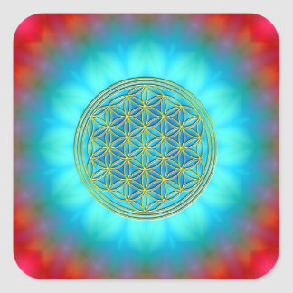 Flower of the life motive 11 square sticker