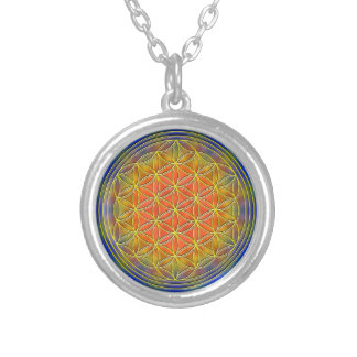 Flower of the life motive 13 round pendant necklace