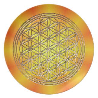 Flower of the life motive 5 dinner plate