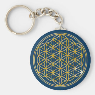 Flower of the life | small dark blue keychain