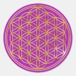 Flower of the life | small/magenta splatter BG Round Stickers