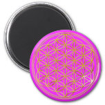 Flower of the life   small pink 2 inch round magnet