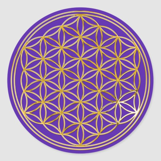 Flower of the life   small/violet BG Classic Round Sticker
