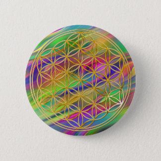 Flower of the life   small waves coloured BG Button
