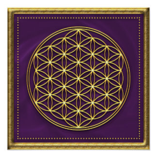 Flower of the life - violet/gold poster