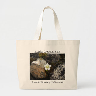 Flower on a Rocky Beach; Customizable Large Tote Bag