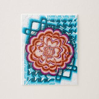 Flower on blue geometrical background jigsaw puzzle