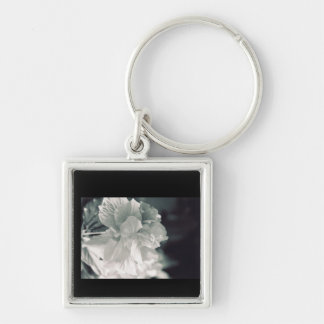 Flower on End Silver-Colored Square Keychain