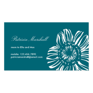 Flower on Peacock Background Double-Sided Standard Business Cards (Pack Of 100)