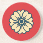 Flower on Red Background Coaster