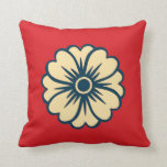 Flower on Red Background Throw Pillows