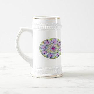 Flower on Stars n Pearls - Satin Silk Green Base 18 Oz Beer Stein