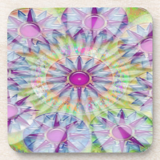 Flower on Stars n Pearls - Satin Silk Green Base Drink Coaster
