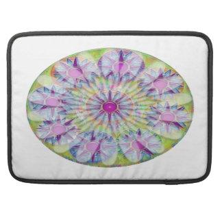 Flower on Stars n Pearls - Satin Silk Green Base Sleeves For MacBook Pro