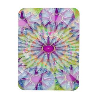 Flower on Stars n Pearls - Satin Silk Green Base Rectangular Photo Magnet