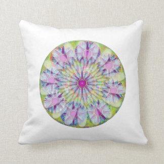Flower on Stars n Pearls - Satin Silk Green Base Throw Pillow