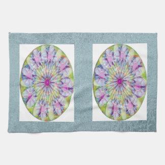 Flower on Stars n Pearls - Satin Silk Green Base Towel