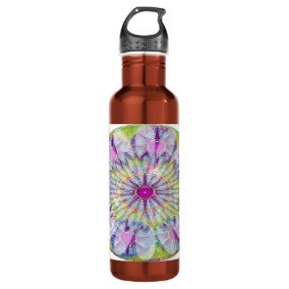 Flower on Stars n Pearls - Satin Silk Green Base Water Bottle