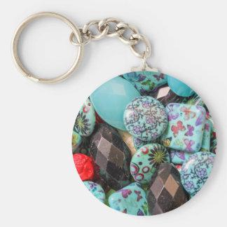 flower on stones basic round button keychain