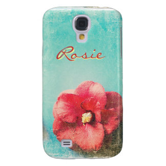 Flower on turquoise background Samsung Galaxy S4 Galaxy S4 Cover