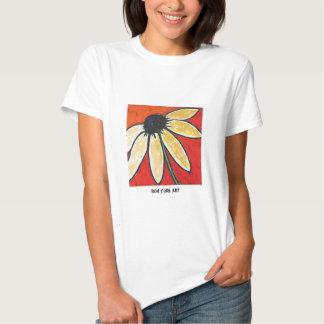 flower on white tee