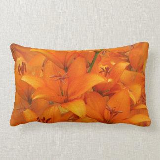 Flower Orange Lily Garden Photo Raindrops Lumbar Pillow