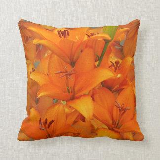 Flower Orange Lily Garden Photo Raindrops Throw Pillow