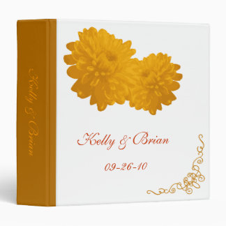 Flower (Orange) Wedding Album or Planner 3 Ring Binder