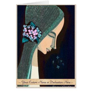 Flower Ornament oriental japanase kawaii girl art Stationery Note Card