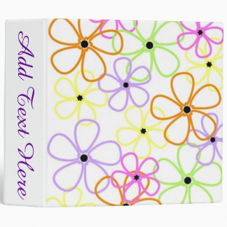 Flower Outlines 3 Ring Binder