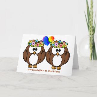 Flower Owls Lesbian Pride Wedding Card for Brides