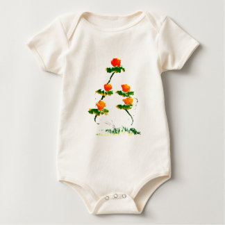 Flower painted by elephant baby bodysuit