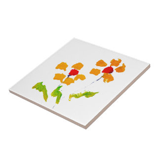 Flower painted by elephant ceramic tile