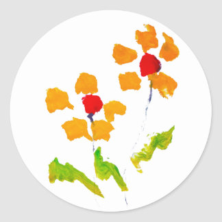Flower painted by elephant classic round sticker