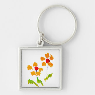 Flower painted by elephant keychain