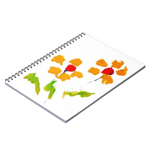 Flower painted by elephant spiral notebooks