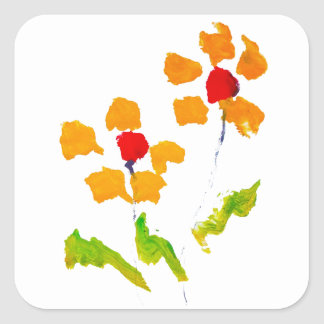 Flower painted by elephant square sticker