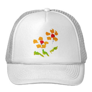 Flower painted by elephant trucker hat