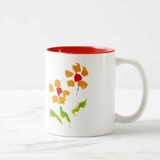 Flower painted by elephant Two-Tone coffee mug