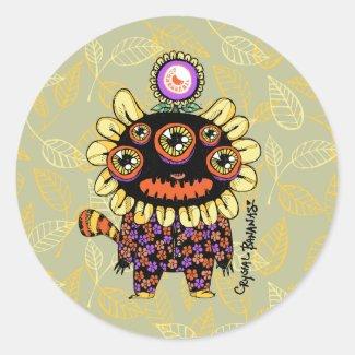 Flower Pajama Monster Stickers