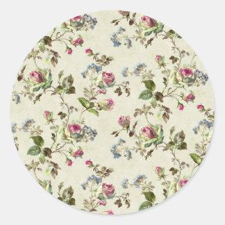 Flower Paper Iamge Classic Round Sticker