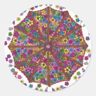 Flower Parasol Round Sticker