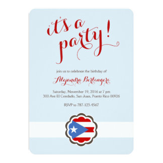 Flower Party, Puerto Rican Flag Card