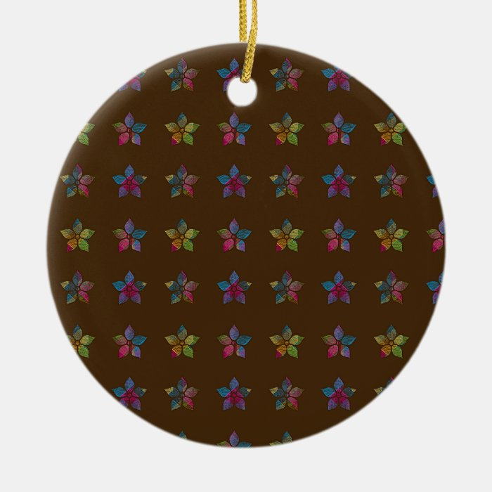 Flower Patch Pattern Brown Ceramic Ornament