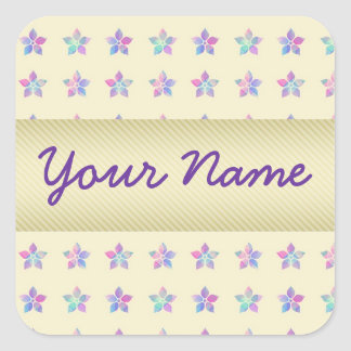 Flower Patch Yellow Pattern Square Sticker