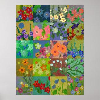 Flower Patchwork Squares Print Poster