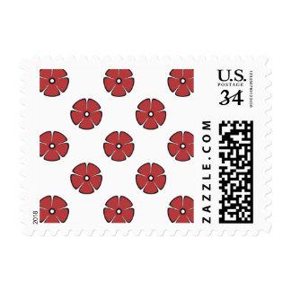 Flower Pattern 2 Aurora Red Postage Stamp