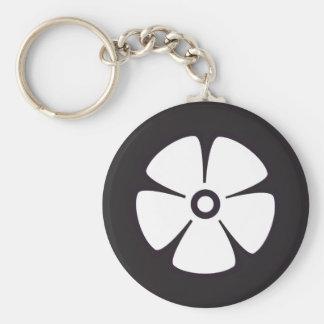 Flower Pattern 2 Black and White Keychain