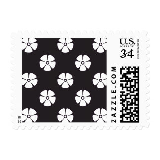 Flower Pattern 2 Black and White Postage Stamp