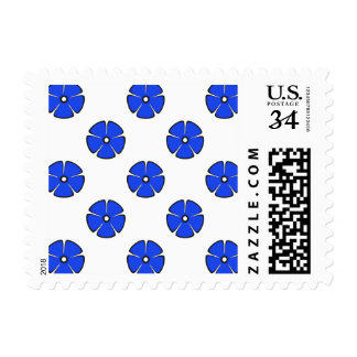 Flower Pattern 2 Blue Postage Stamps